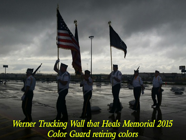 Color Guard retiring colors at Werner Trucking for the Wall that Heals memorial